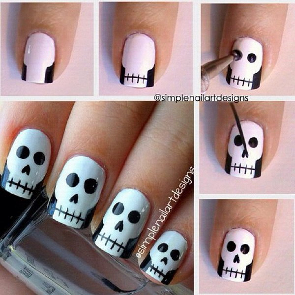 Halloween Skull Nail Art - 20 Step-by-Step Halloween Nail Art Design Tutorials 2017