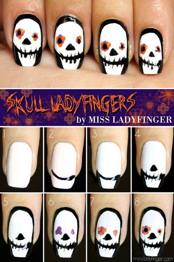 20 step by step halloween nail art design tutorials 2017 scary skull nail art prinsesfo Gallery