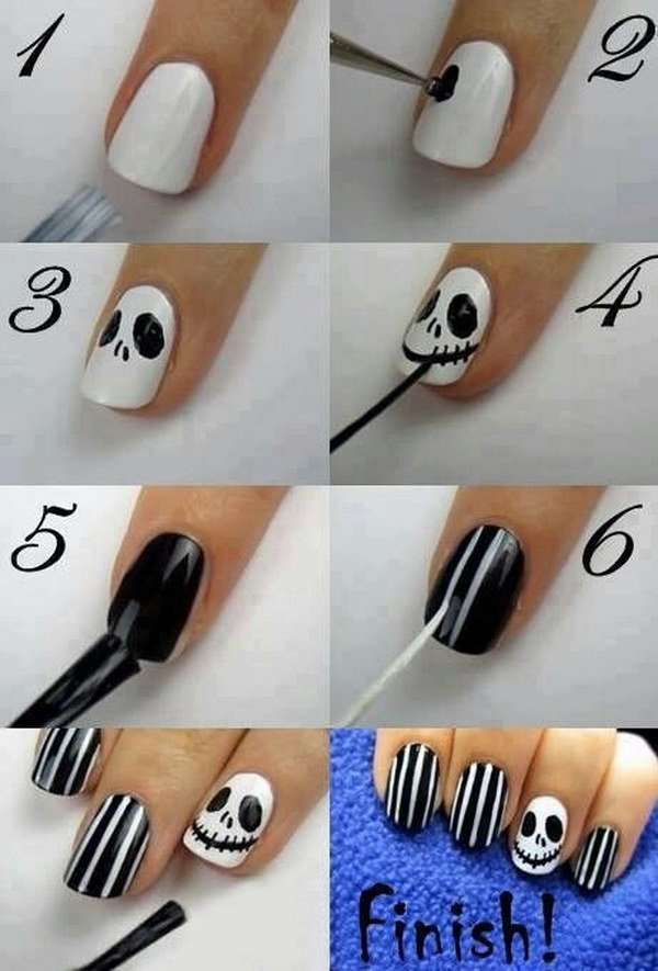 Jack Skellington Nail Art - 20 Step-by-Step Halloween Nail Art Design Tutorials 2017