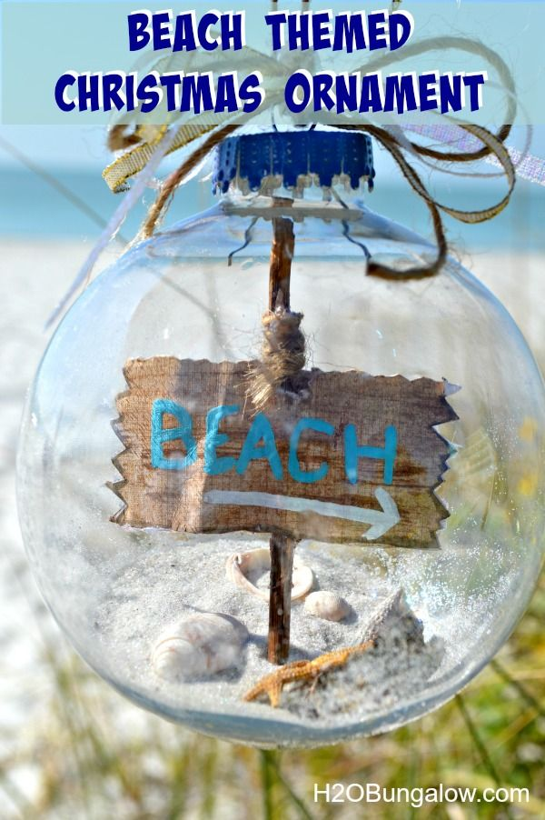 DIY Beach Themed Christmas Tree Ornament with Sea Shells, Sand and Starfish on the Inside