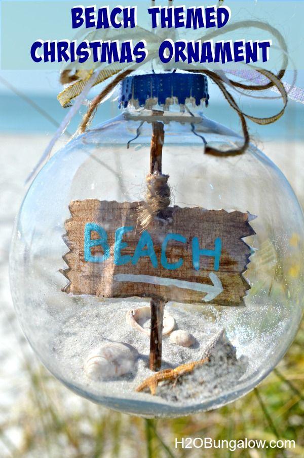 DIY Beach Themed Christmas Tree Ornament with Sea Shells, Sand and Starfish on the Inside
