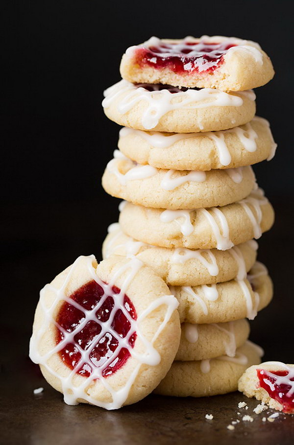 Raspberry Almond Shortbread Thumbprint Cookies.