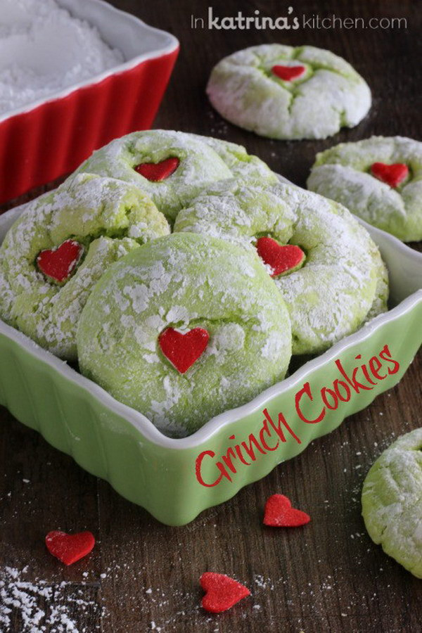 Homemade Holiday Grinch Cookies.