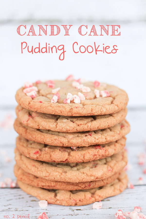 Candy Cane Pudding Cookies.