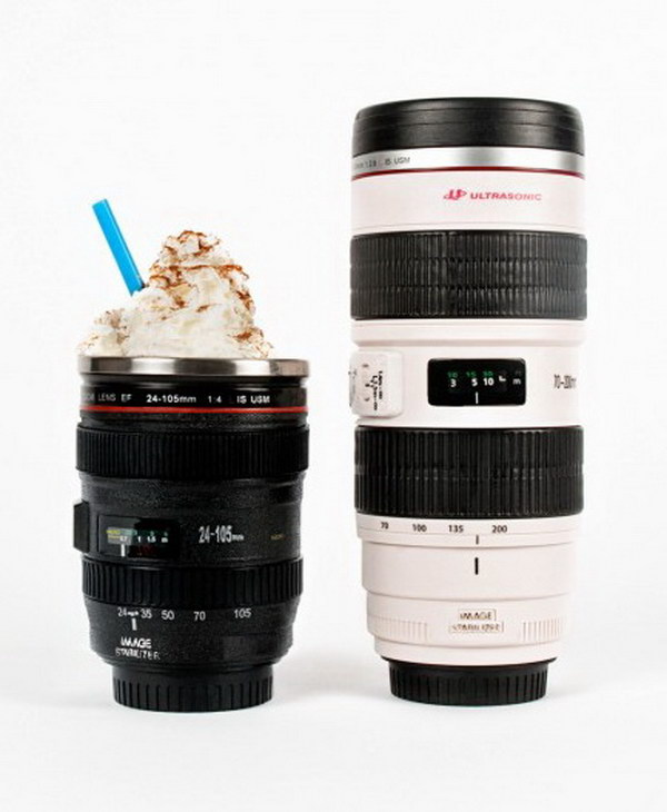 Camera Lens Mug. If he loves photography, then this creative camera shaped mug will be a perfect gift for him.