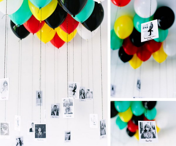 DIY Balloon + Photo Memory Gallery. Tie your favorite photos to ballloons. It will give a big smile on his face.