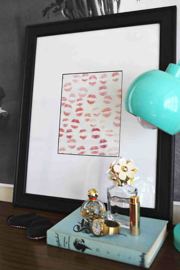 Homemade Lipstick Art. Create this sweet personalized lipstick art for your boyfriend! Easy and super fun to make in minutes.
