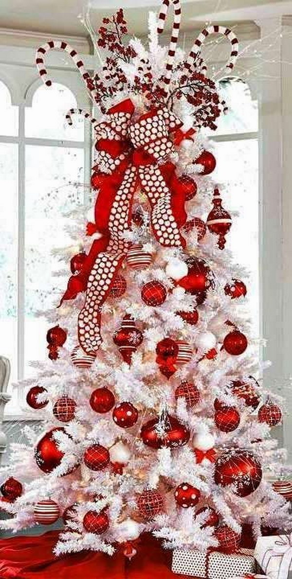 White Christmas Tree with Red Decorations