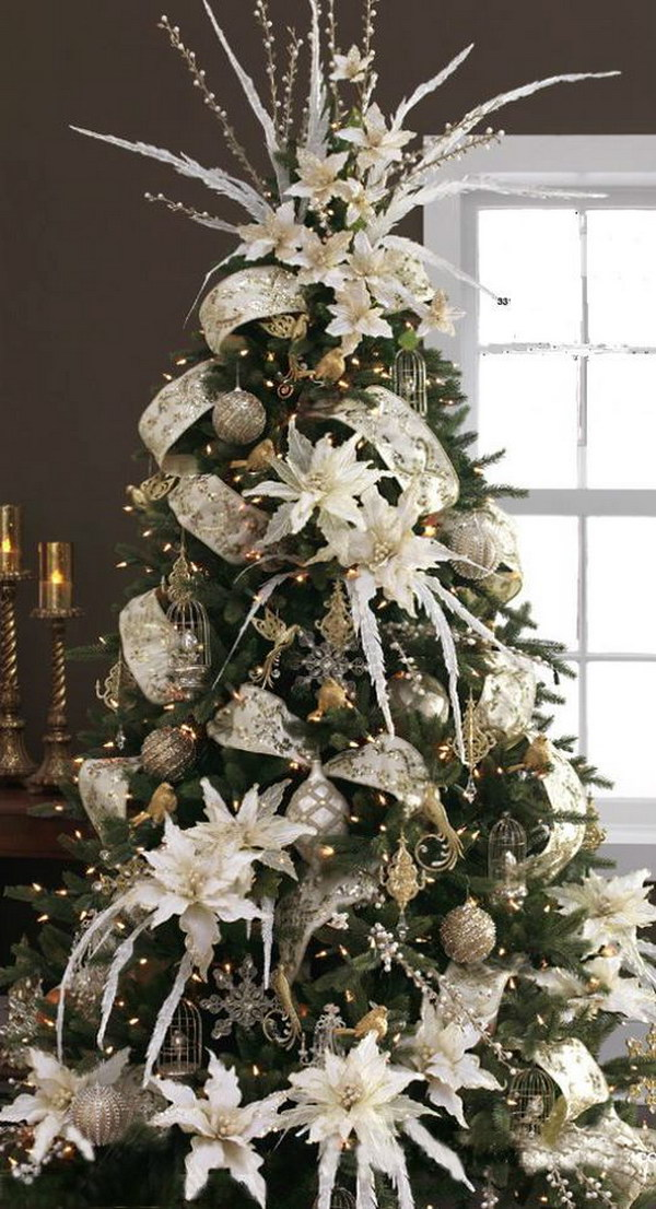 Christmas Tree with Silver and White Decoration