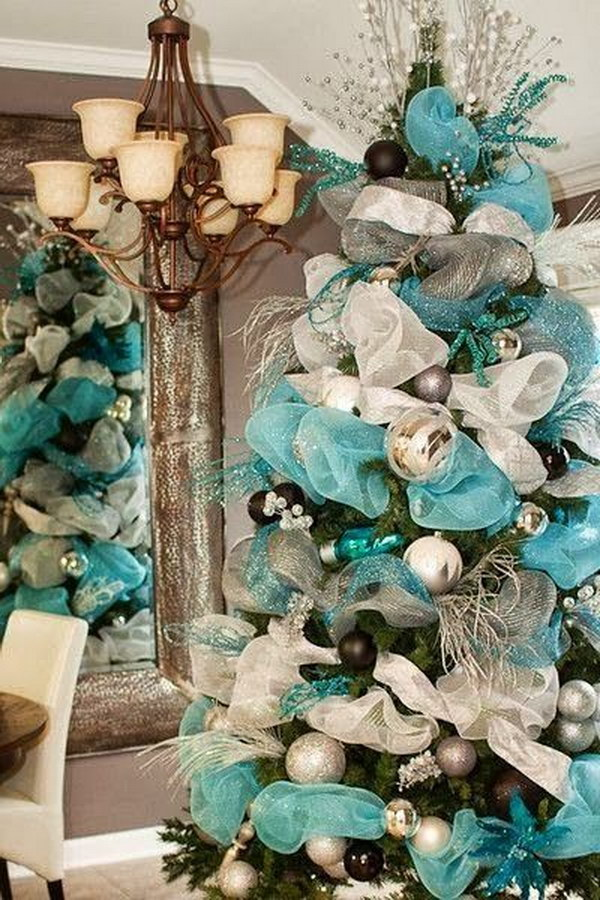 Tiffany Blue Mesh Christmas Tree