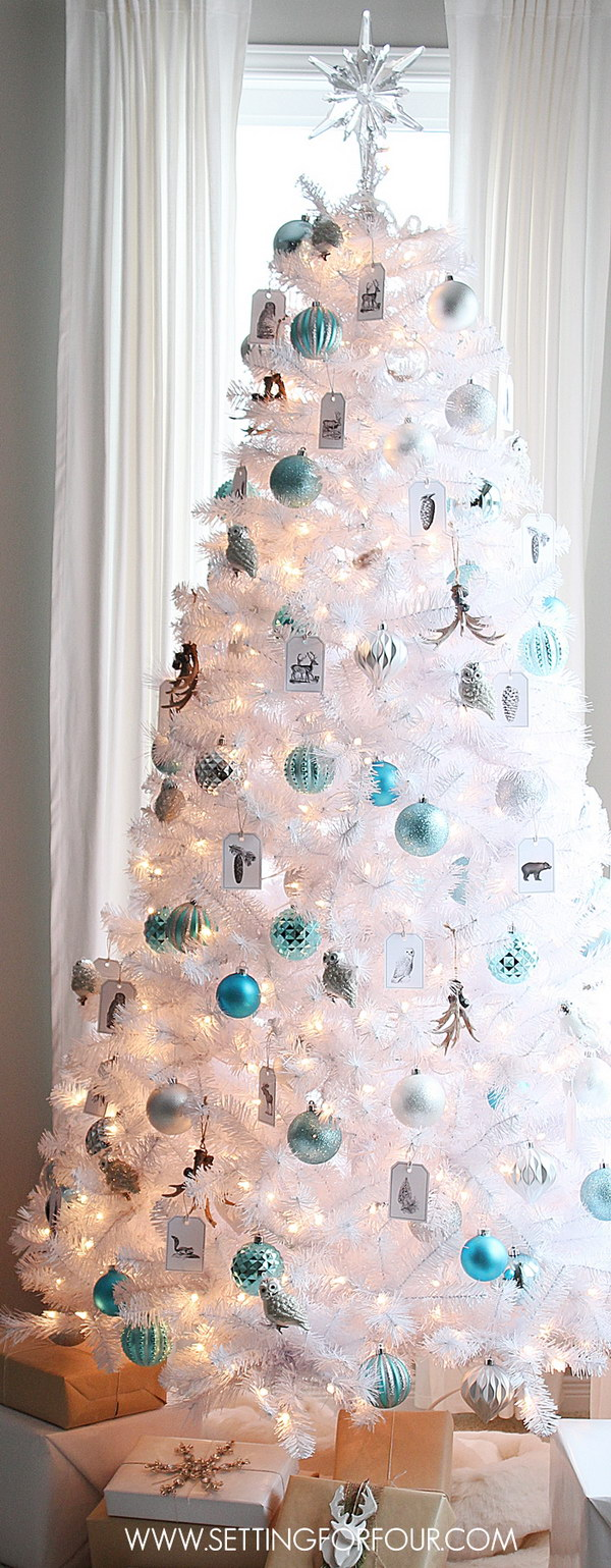 White Christmas Tree with Silver and Blue Ornaments