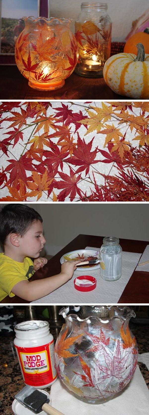 Fall Leaf Lanterns .