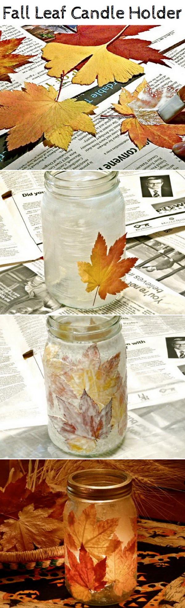 DIY Fall Leaf Candle Holder.