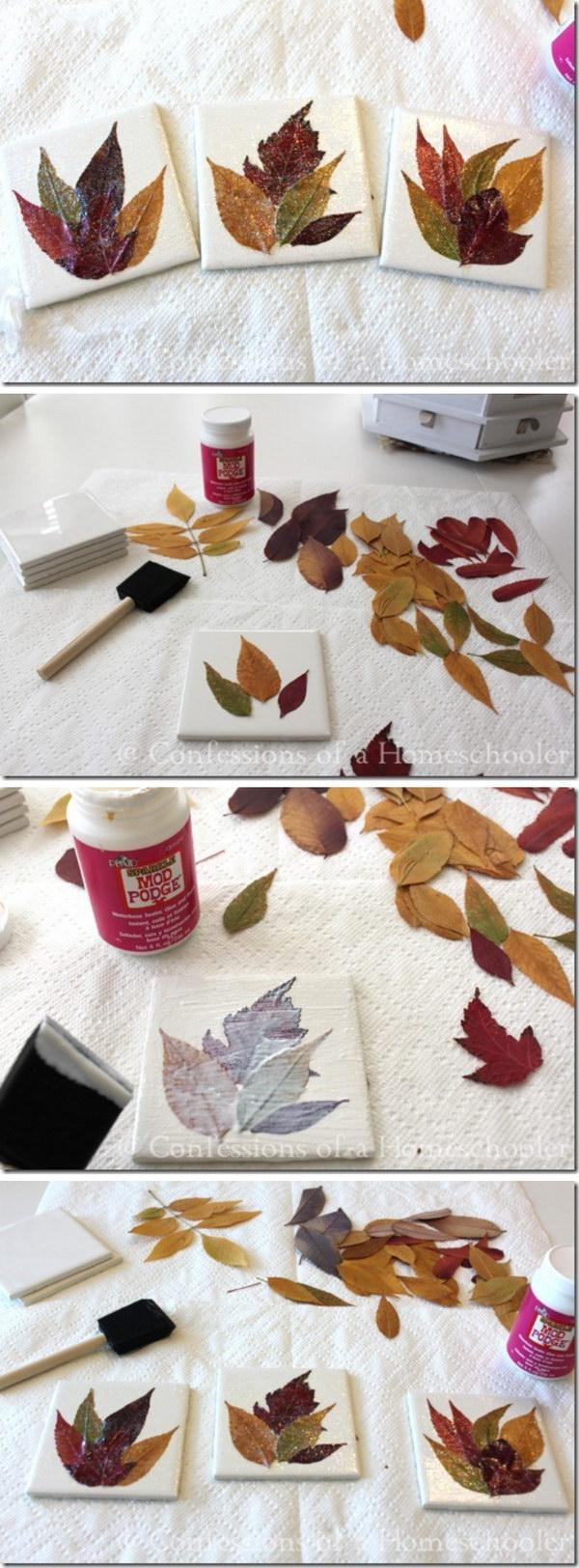 Homemade Leaf Coaster Craft.