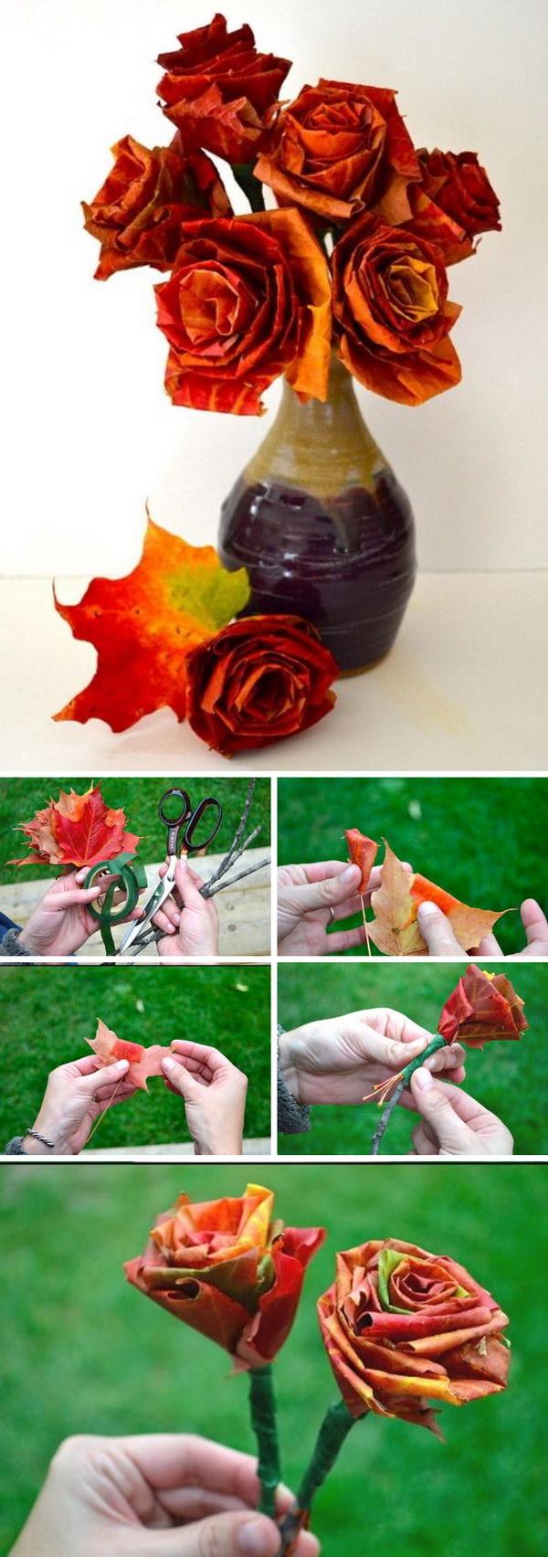 DIY Autumn Leaf Bouquet.
