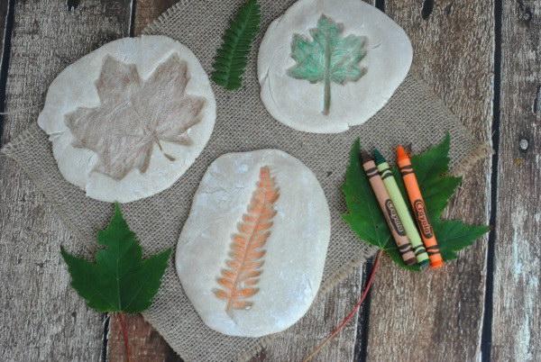 Colored Salt Dough Leaf Impressions.