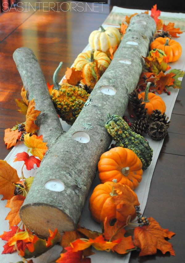 5 Minute Birch Log Candle Centerpiece.