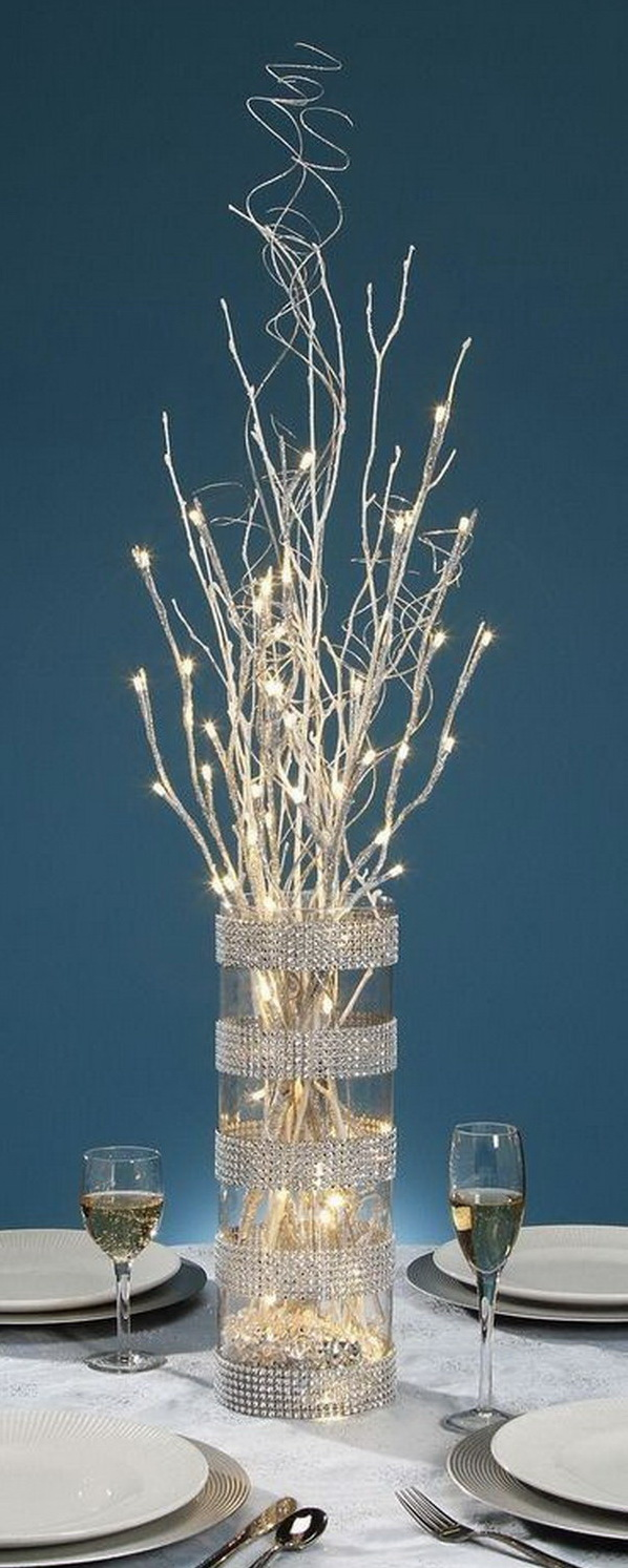 Silver LED Glitter Branch Centerpiece.