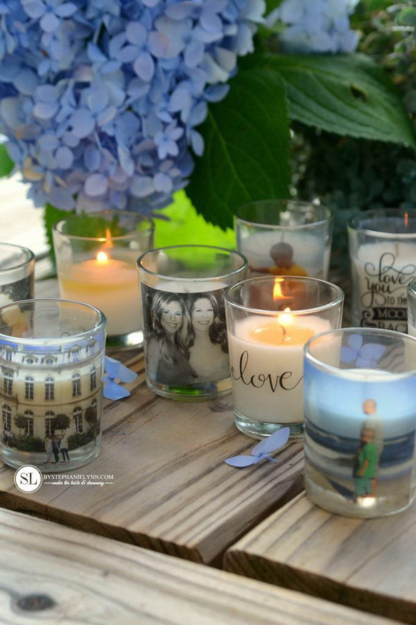 These DIY Photo Candle Holders were created using one of the easiest image transfer methods. They were simply made with clear packing tape!