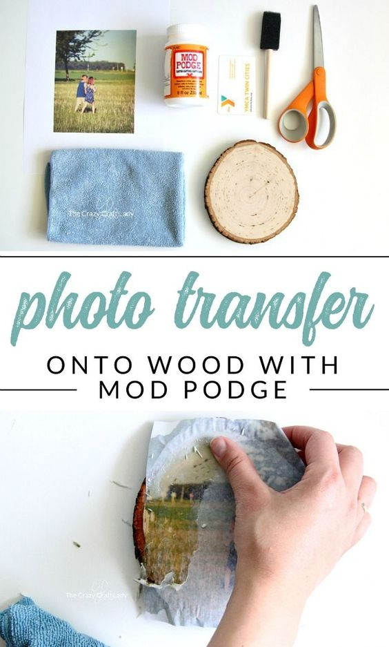 Wood Photo Transfer Using Mod Podge.