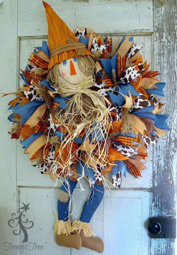 DIY Scarecrow Wreath with Legs.