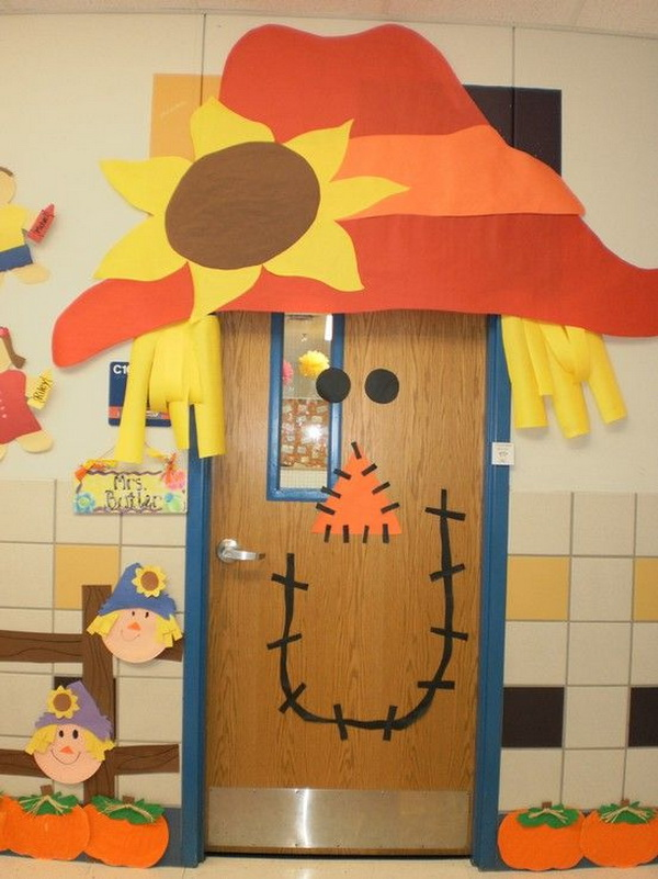 Scarecrow Fall Classroom Door.
