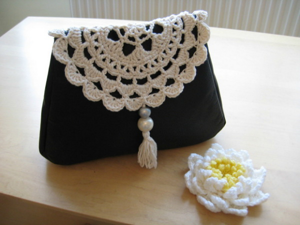 DIY Leather & Doily Clutch. Get the tutorial