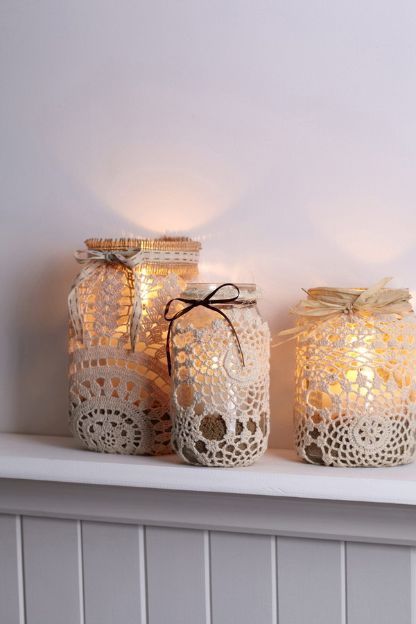 Doily Wrapped Mason Jar Lanterns