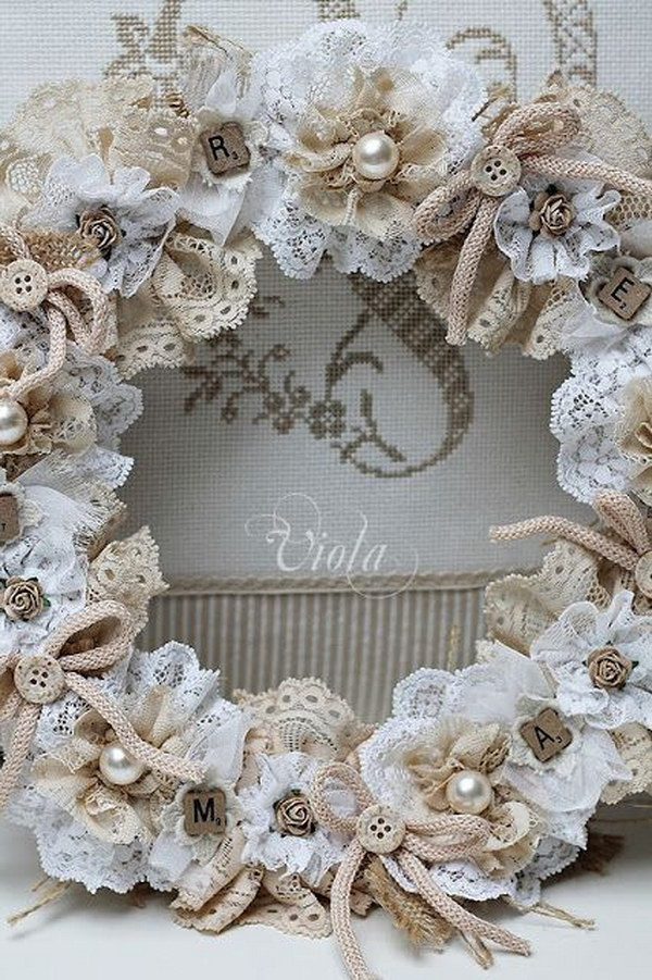 Shabby Chic Doily Wreath