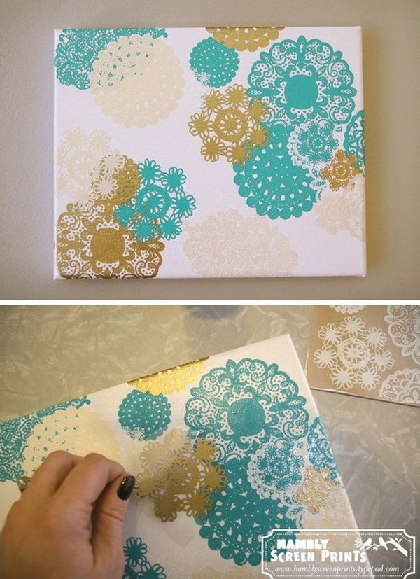 DIY Doily Canvas Art