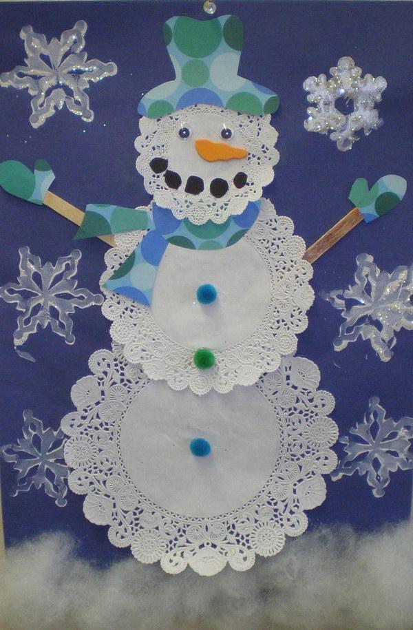 DIY Doily Snowman