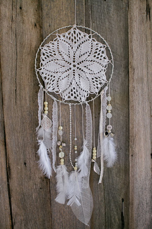 White Doily and Lace Dream Catcher