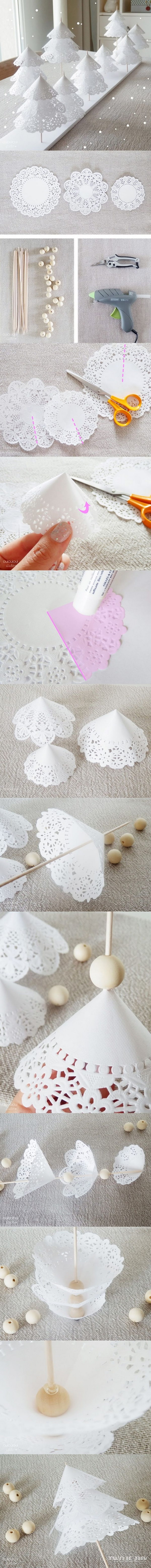 DIY Paper Doily Christmas Trees