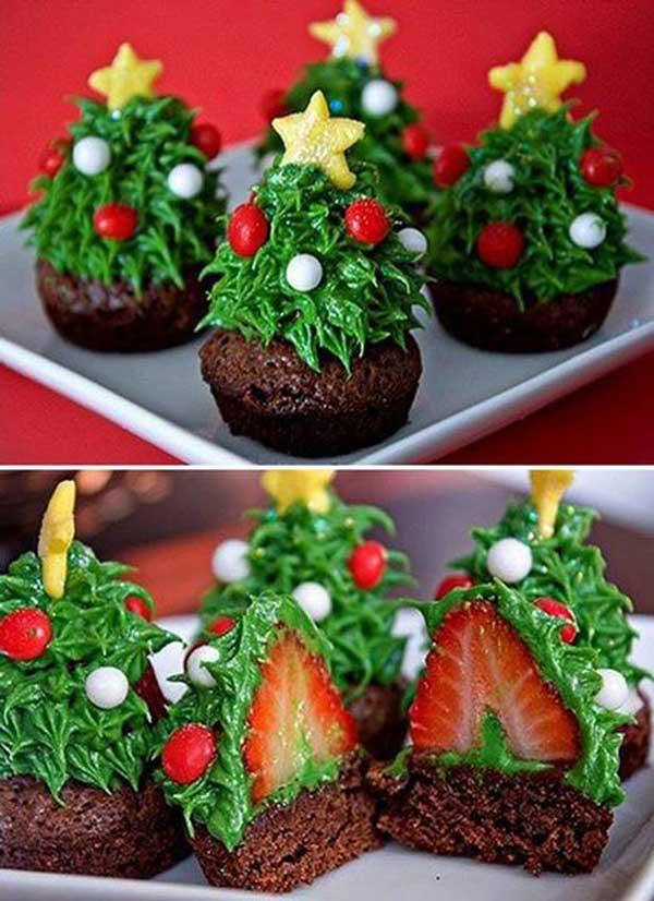 Strawberry Christmas Tree Brownie Bites.
