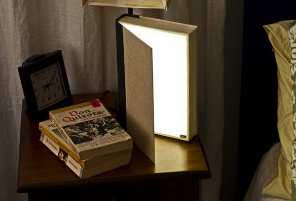 DIY Book Light. This would be an incredible gift for any book obsessed person. It turns off when its closed and gives off a variable amount of light depending on how far you open it.