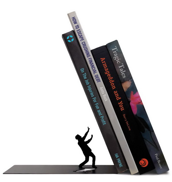 THE END Dramatic Bookends. It's a cute gift idea for book lovers in your life. The books look like they'll fall on the small man who tries to save his life.