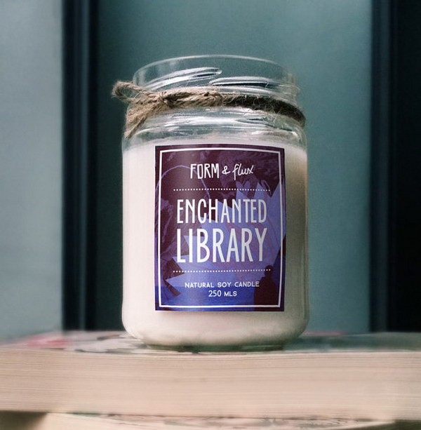 Enchanted Library Jam Jar Candle. This soy wax candle provides a feeling of contentment similar to that of being surrounded by shelves filled with books.
