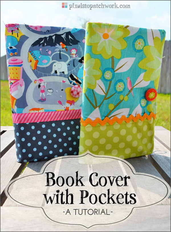 Quilt Book Cover With Pockets for Bookmarks. What a cute book cover! It's a great gift idea for book lovers!