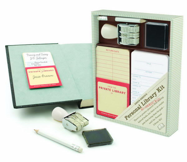Knock Knock Personal Library Kit. This is a cute gift for your friend who is a librarian. It also encourages your kids to share their books rather than fight over who has the rights to which book!