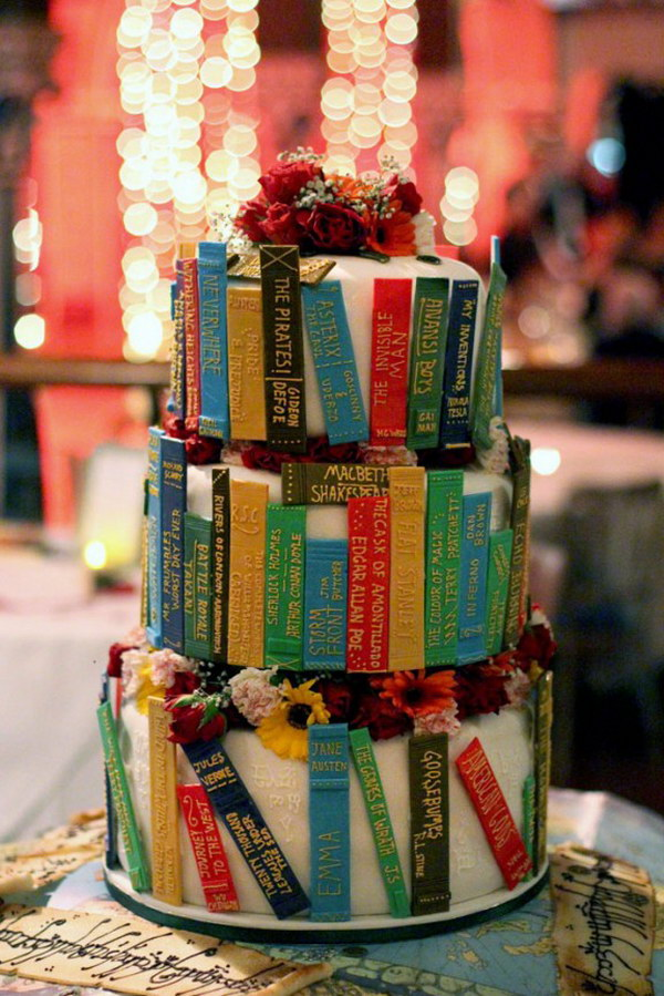 Library Cake. Decorate the cake with spines of books you have read and loved.