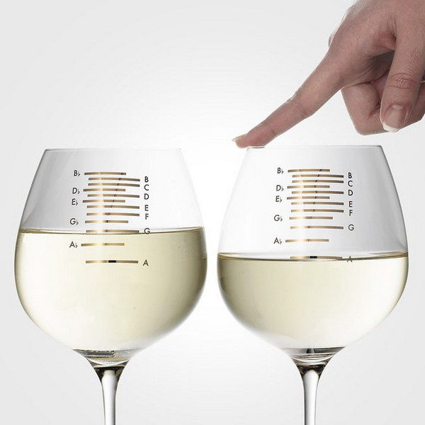 Musical Wine Glasses. Knock the glass to hear music ring out. Perfect gift idea for music and wine lovers!