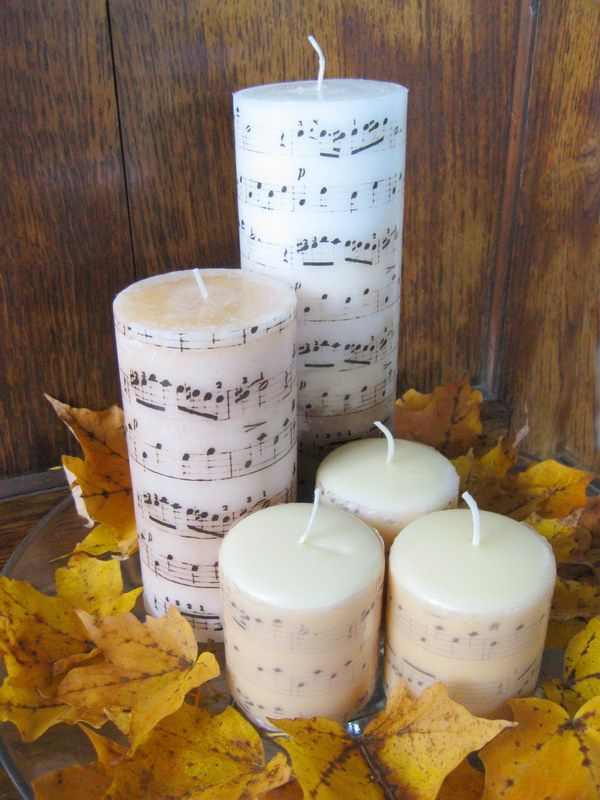 DIY Sheet Music Candles.