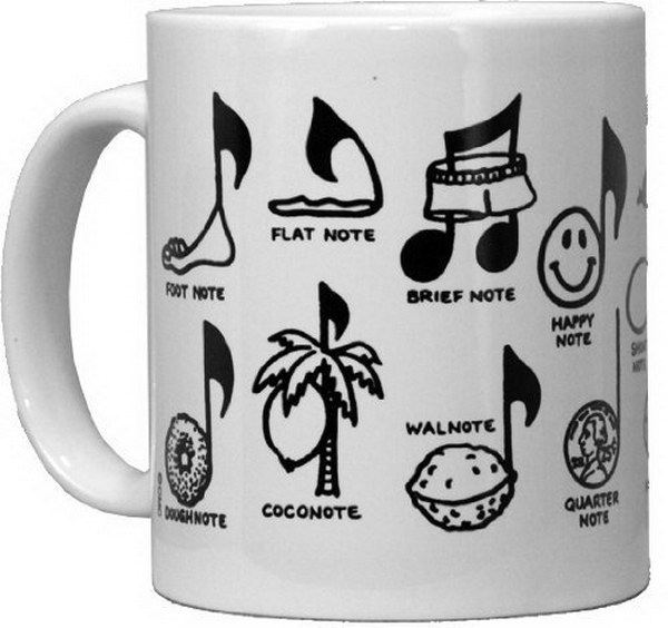 Music Note Mug. This mug features a fun and witty music themed message. It's a perfect gift idea for the music lovers in your life.