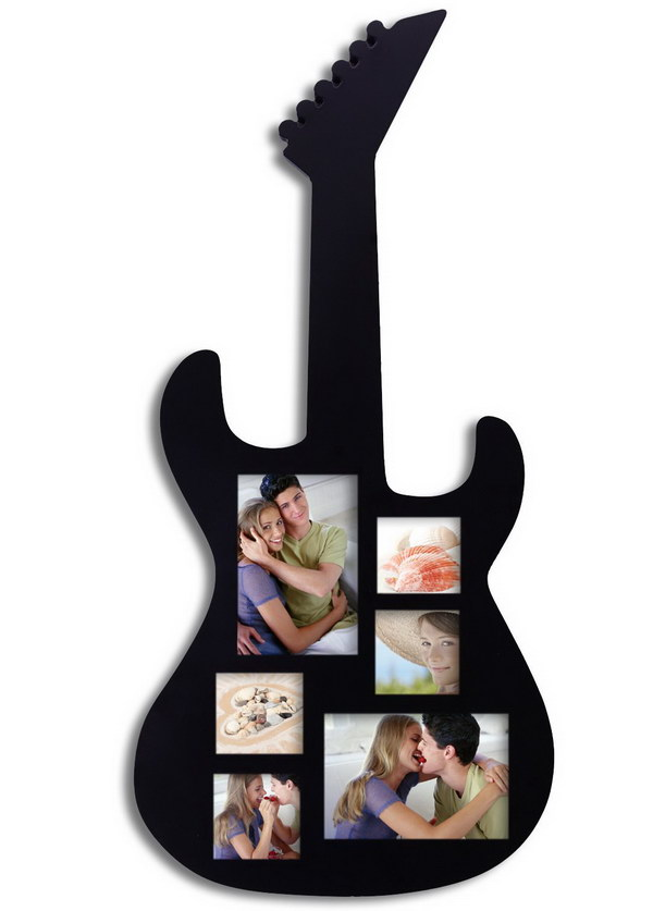 Guitar Picture Frame. Showcase your love of music with this beautiful, guitar shaped frame. It's a wonderful gift to anyone who loves guitar or music.