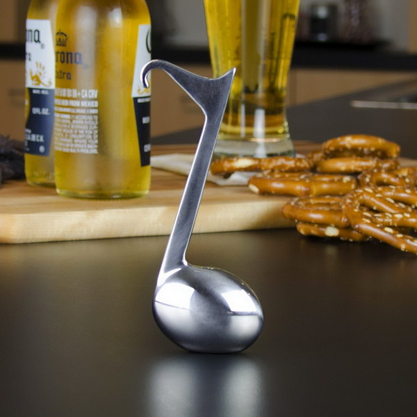 Music Note Bottle Opener. This bottle opener is really heavy and well made. It is a must have bar accessory for any music lover.