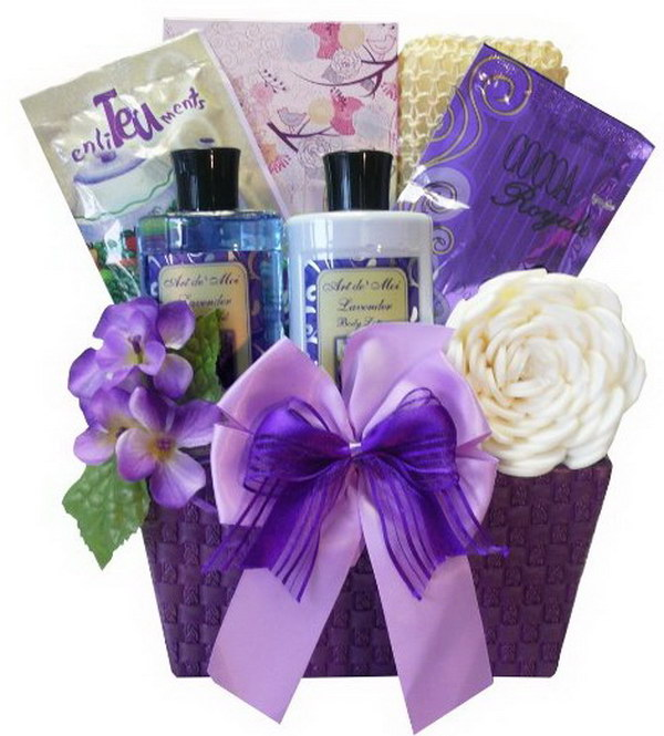 Lavender Spa Bath and Body Set Gift Basket.