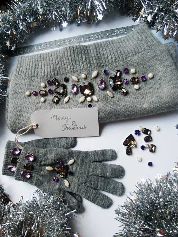 Rhinestone Embellished Scarf and Gloves.
