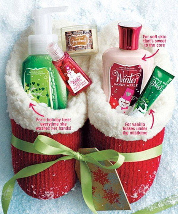 slippers filled with bath and body works items cute ideas of inexpensive handmade christmas gifts for teen