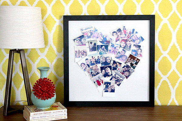 This DIY heart photo display is an easy and quick project and makes a great gift!