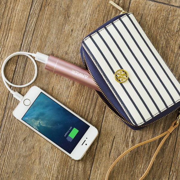 This pink lipstick sized portable external battery charger is very convenient to take and makes a perfect gift for teenage girls who use their phones a lot.